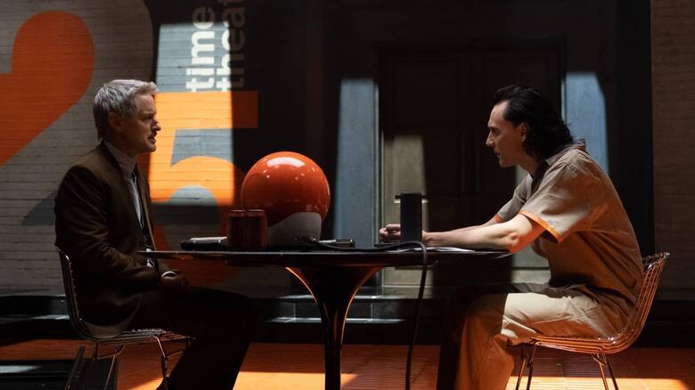 "Agent Mobius (Luke Wilson) interviews Loki (Tom Hiddleston) in the first episode of ""Loki."""